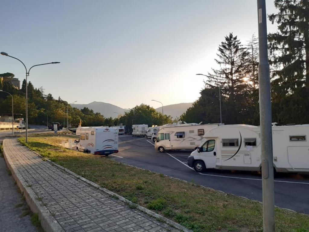 L'area camper di Camerino in via Macario Muzio