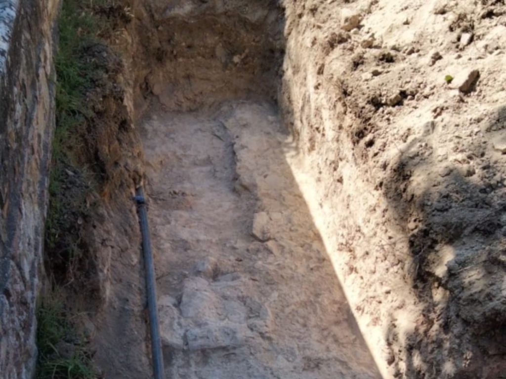 Le mura venute alla luce nel corso dei lavori alla Rocca dei Borgia a Camerino