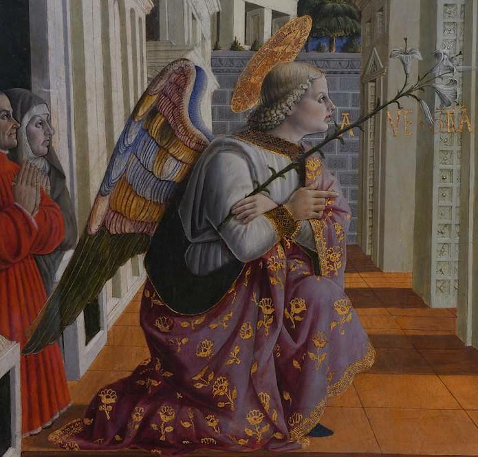 Particolare dell'Annunciazione con l'Arcangelo Gabriele e committenti di Giovanni Angelo d' Antonio, 1456.